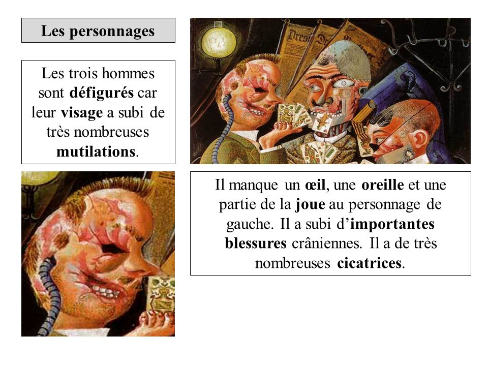 Les personnages Les trois hommes sont défigurés car leur visage a subi de très nombreuses mutilations.