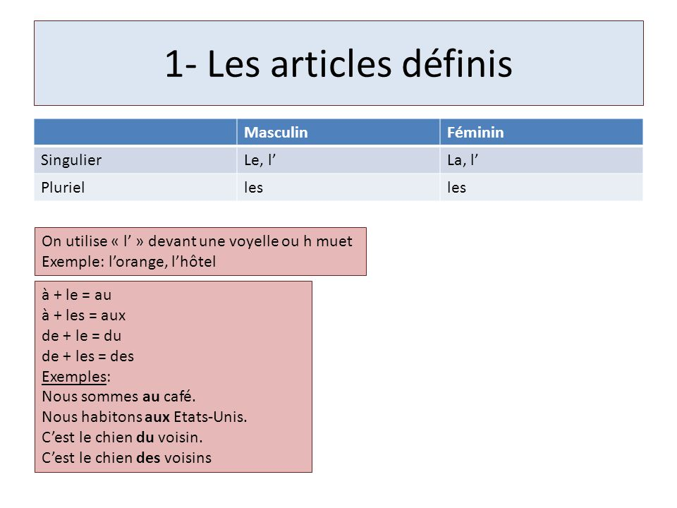 1- Les articles définis Masculin Féminin Singulier Le, l' La, l'