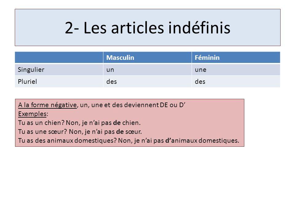 2- Les articles indéfinis