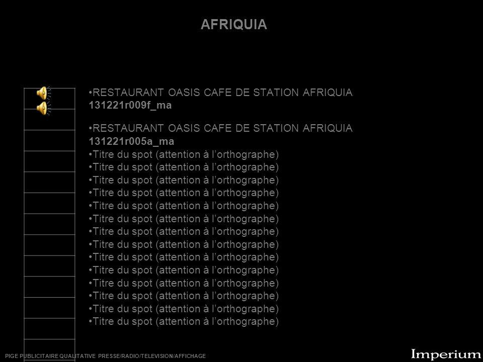 ********** AFRIQUIA RESTAURANT OASIS CAFE DE STATION AFRIQUIA