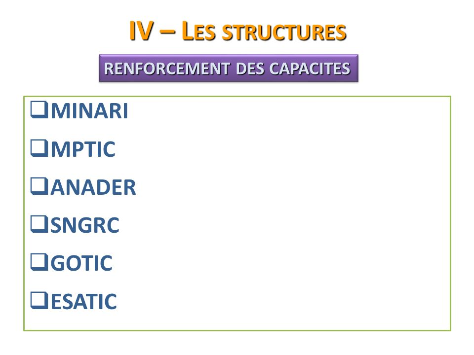 IV – Les structures MINARI MPTIC ANADER SNGRC GOTIC ESATIC