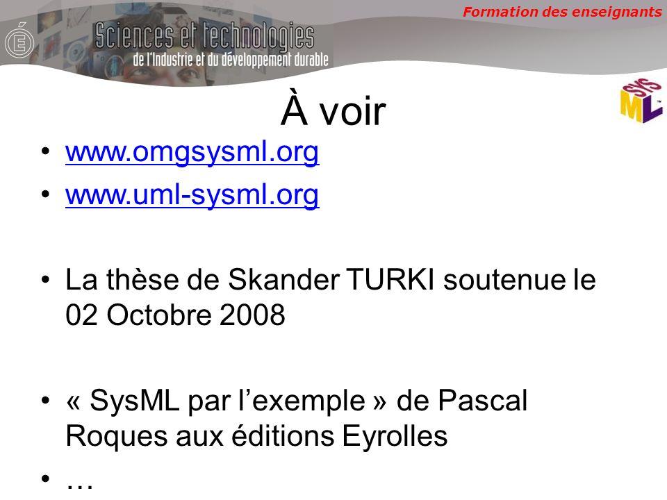 À voir www.omgsysml.org www.uml-sysml.org