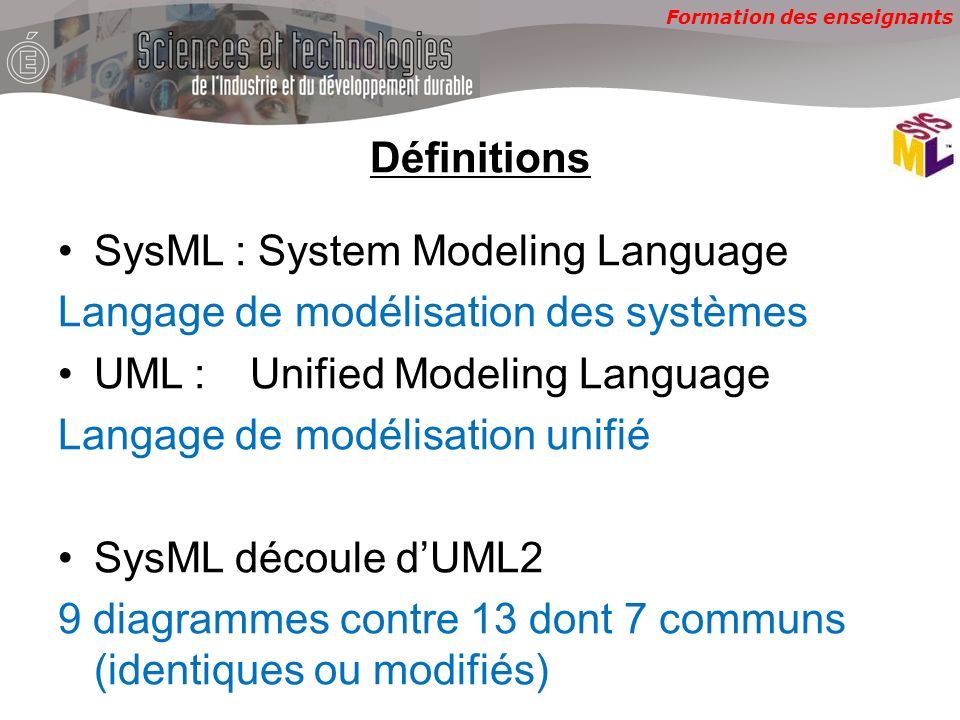 Définitions SysML : System Modeling Language. Langage de modélisation des systèmes. UML : Unified Modeling Language.