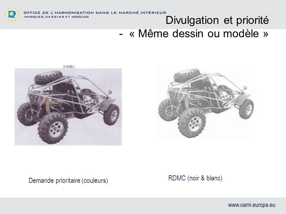 Divulgation et priorité - « Même dessin ou modèle »