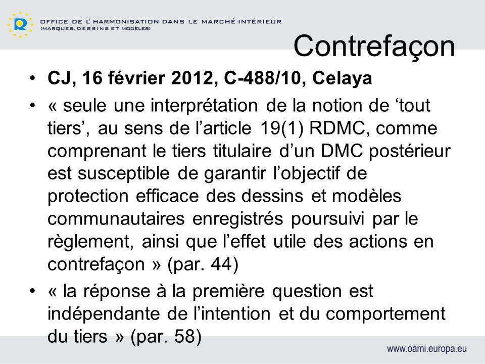 Contrefaçon CJ, 16 février 2012, C-488/10, Celaya
