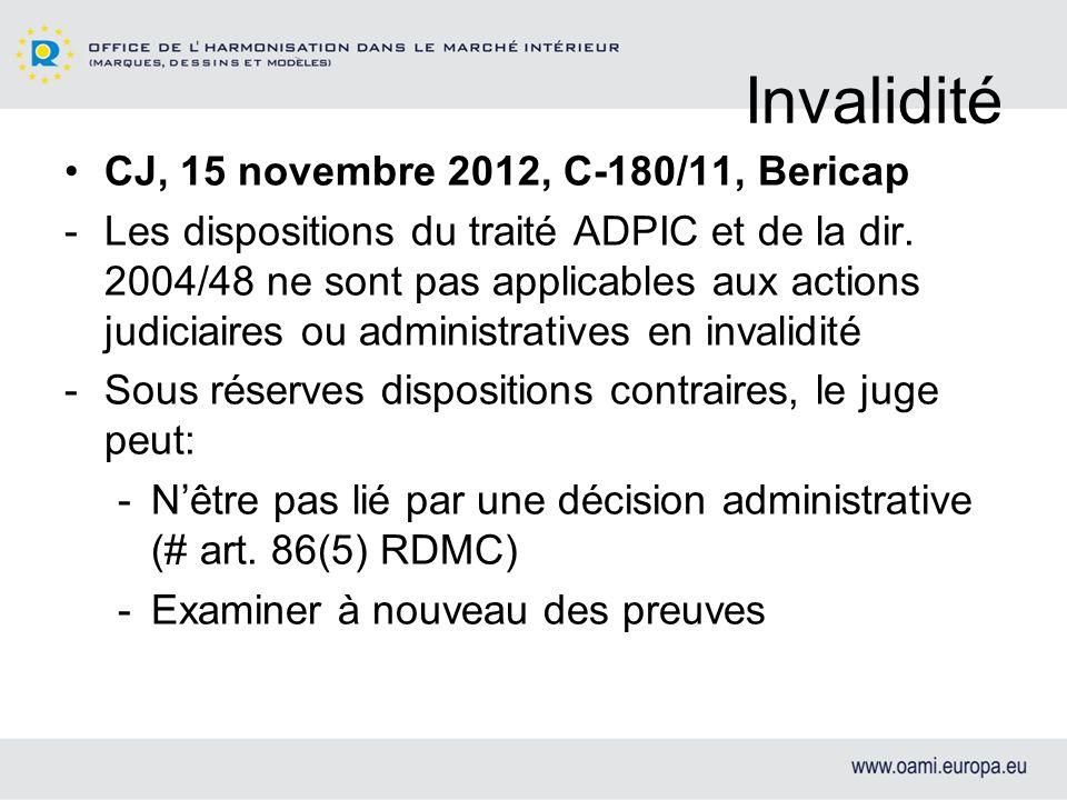 Invalidité CJ, 15 novembre 2012, C-180/11, Bericap