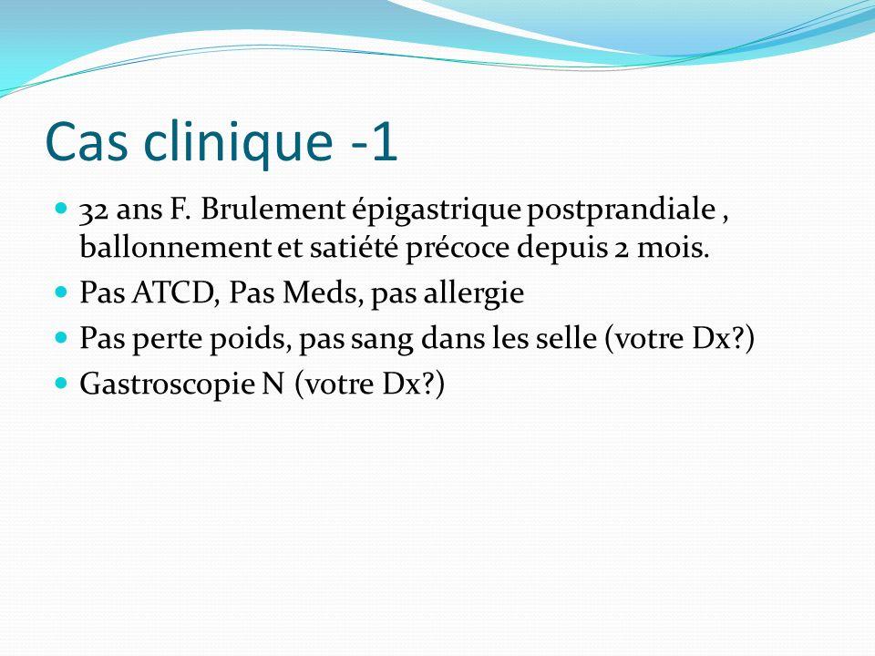 Cas clinique -1 32 ans F. Brulement épigastrique postprandiale , ballonnement et satiété précoce depuis 2 mois.