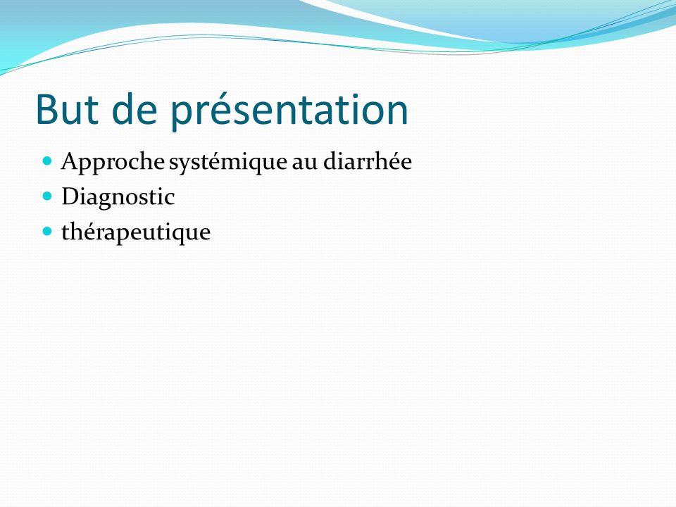 But de présentation Approche systémique au diarrhée Diagnostic