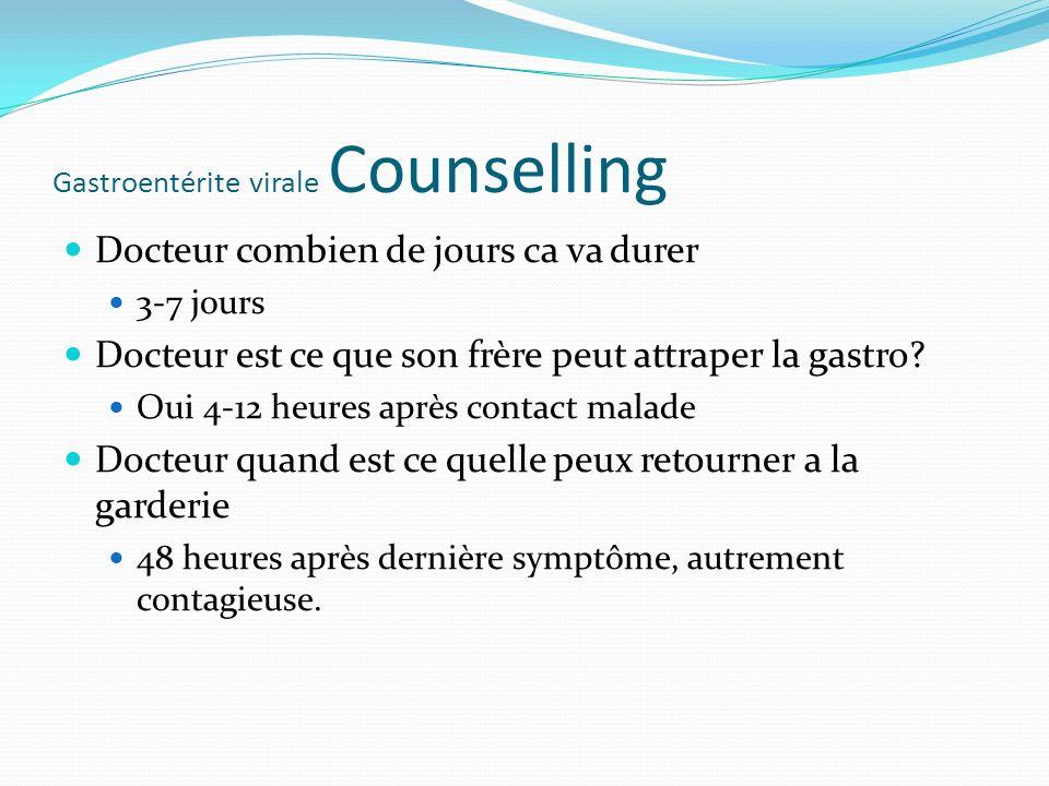 Gastroentérite virale Counselling
