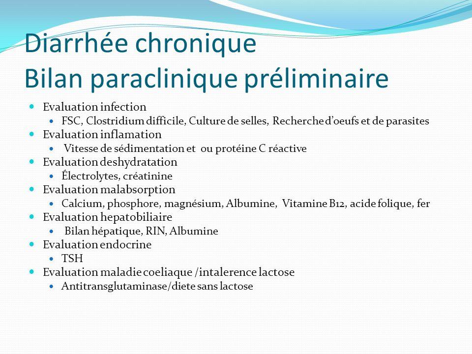 Diarrhée chronique Bilan paraclinique préliminaire