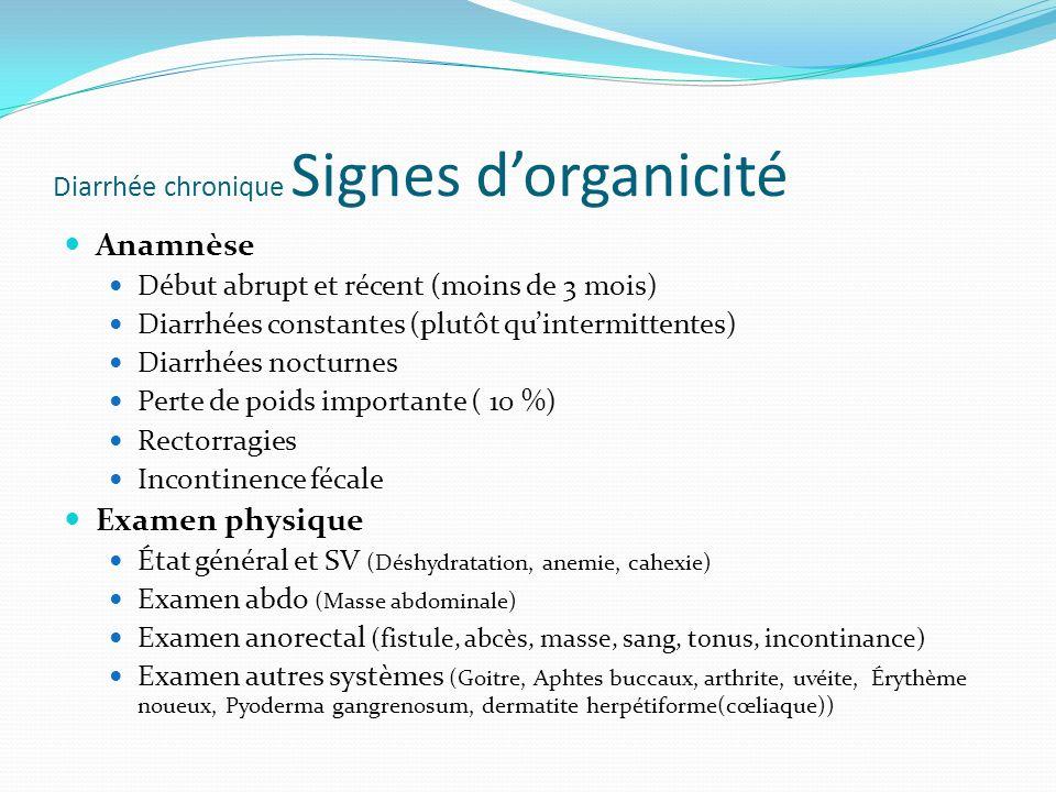 Diarrhée chronique Signes d'organicité