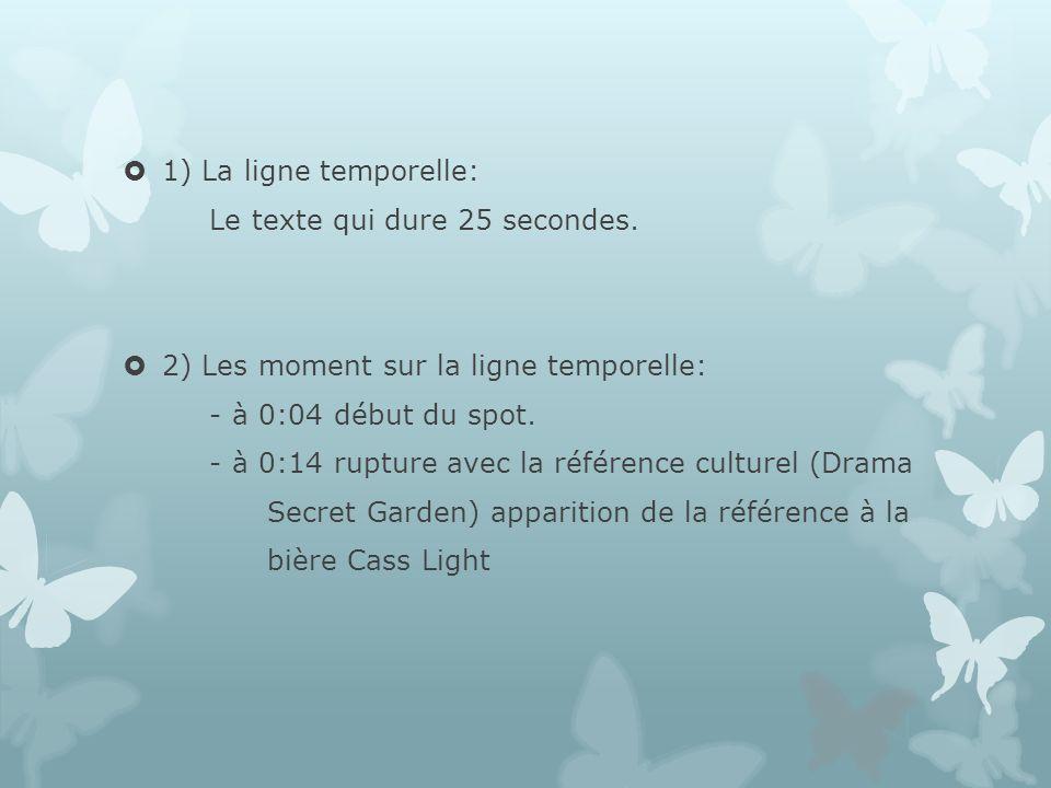 1) La ligne temporelle: Le texte qui dure 25 secondes. 2) Les moment sur la ligne temporelle: - à 0:04 début du spot.