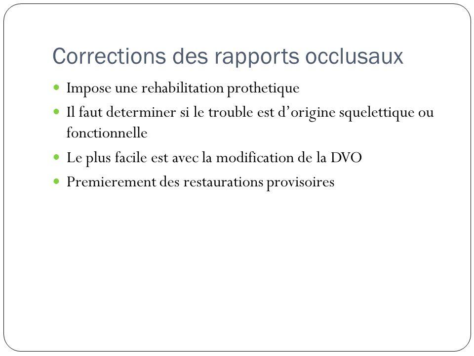 Corrections des rapports occlusaux