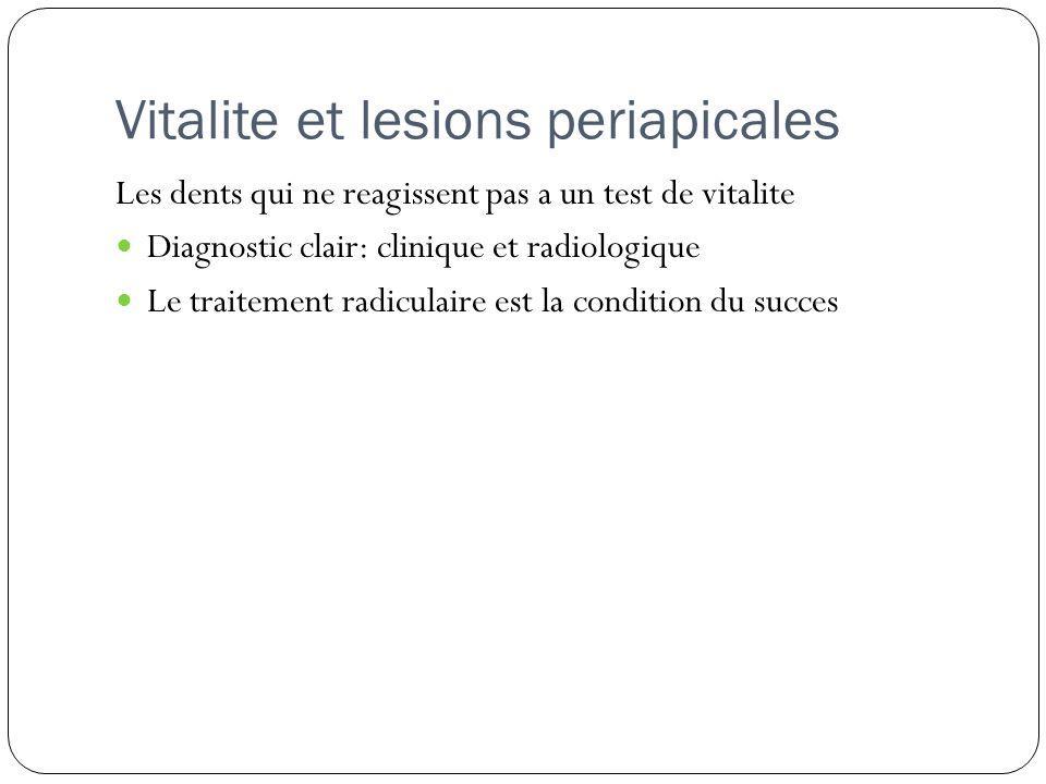 Vitalite et lesions periapicales
