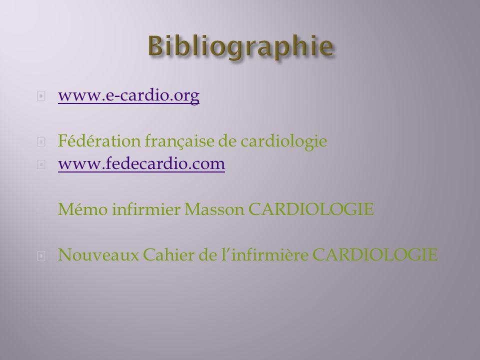 Bibliographie www.e-cardio.org Fédération française de cardiologie