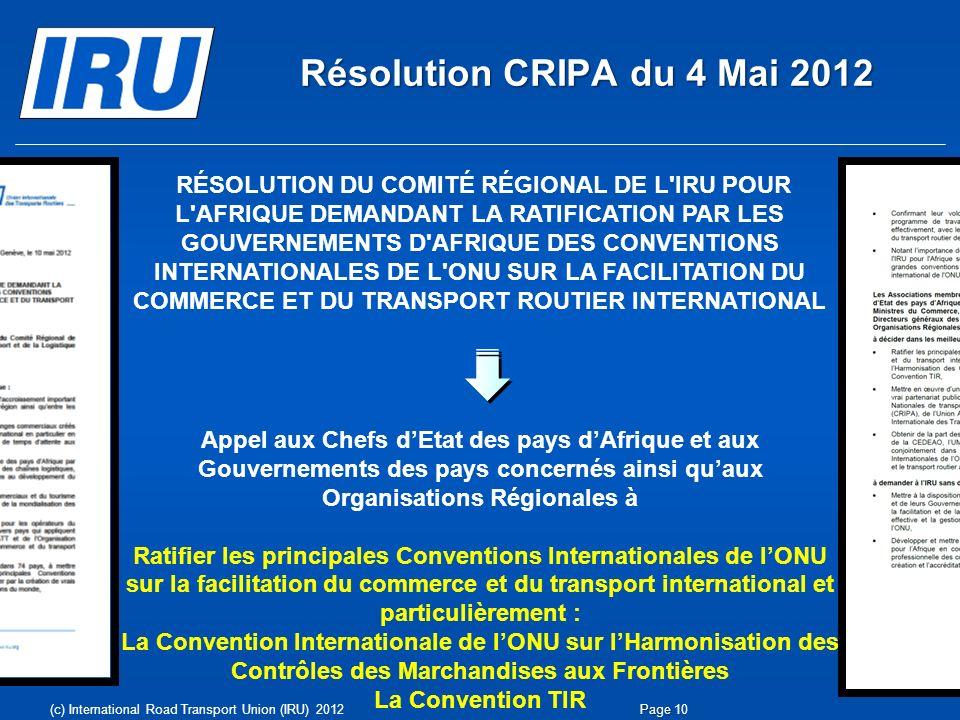 Résolution CRIPA du 4 Mai 2012