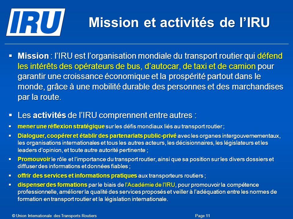 Mission et activités de l'IRU