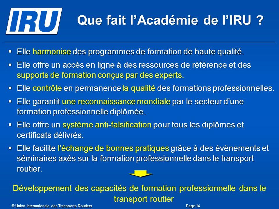 Que fait l'Académie de l'IRU