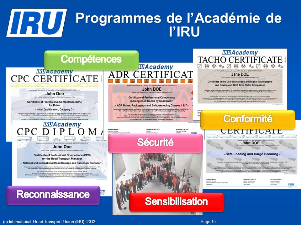 Programmes de l'Académie de l'IRU