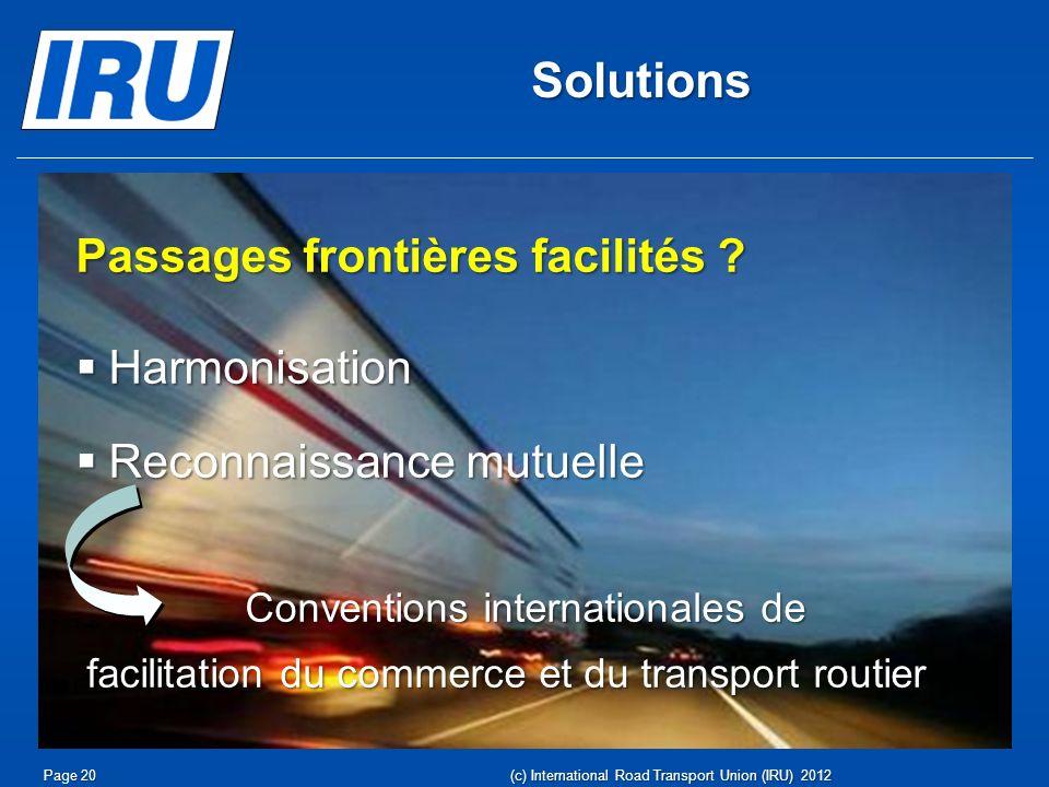Solutions Passages frontières facilités Harmonisation
