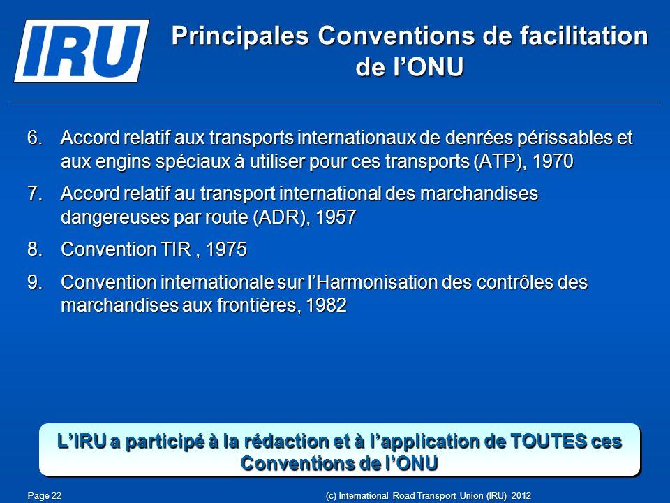 Principales Conventions de facilitation de l'ONU