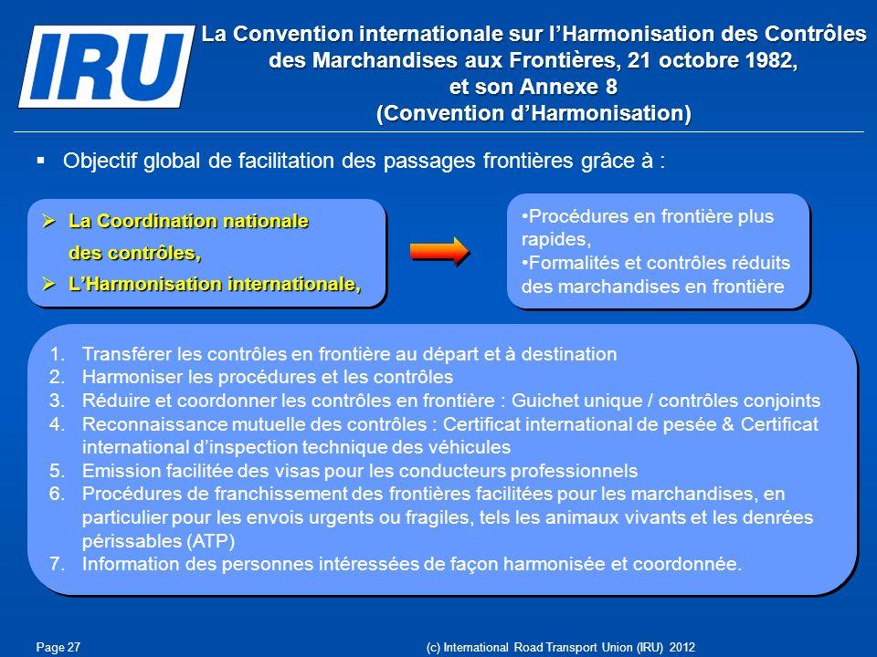 Objectif global de facilitation des passages frontières grâce à :