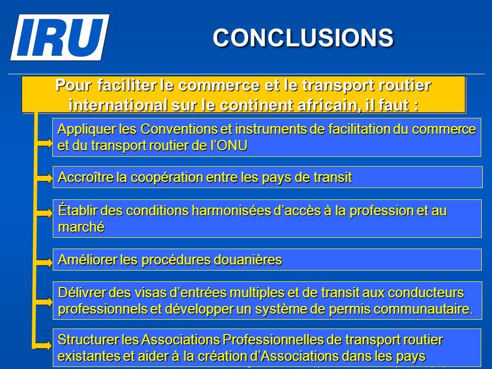 CONCLUSIONS Pour faciliter le commerce et le transport routier international sur le continent africain, il faut :