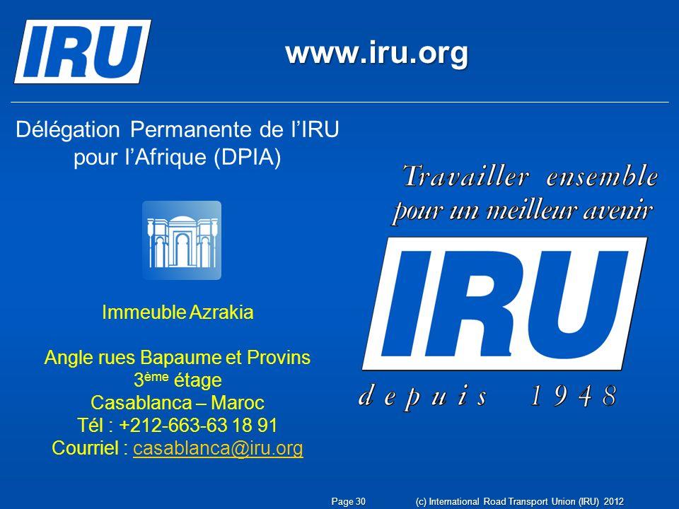 www.iru.org Délégation Permanente de l'IRU pour l'Afrique (DPIA)
