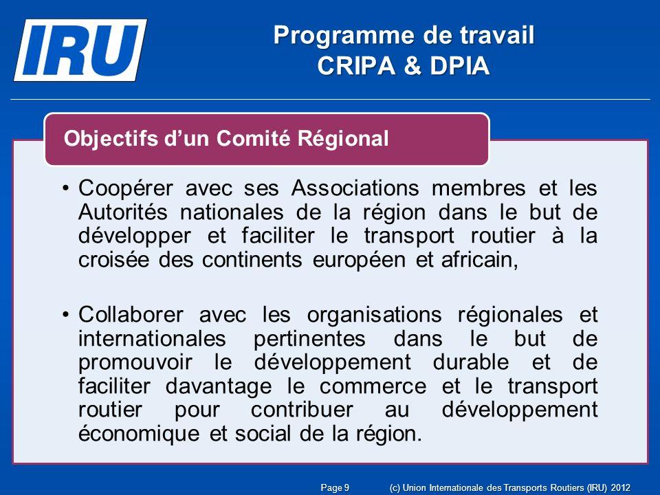 Programme de travail CRIPA & DPIA