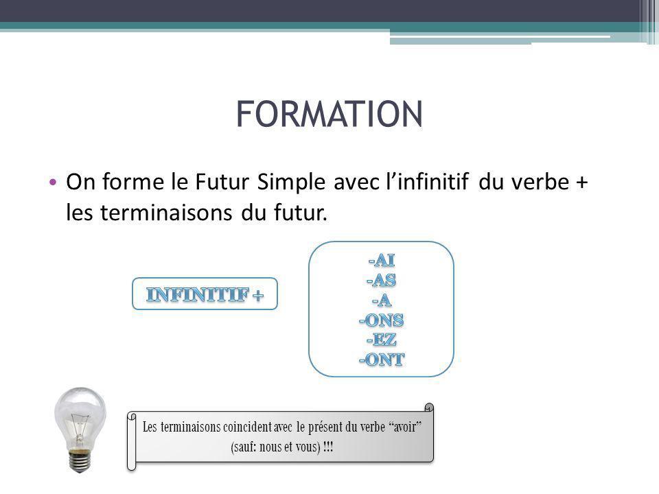 FORMATION On forme le Futur Simple avec l'infinitif du verbe + les terminaisons du futur. -AI. -AS.