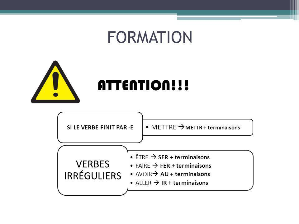 FORMATION ATTENTION!!! METTRE METTR + terminaisons