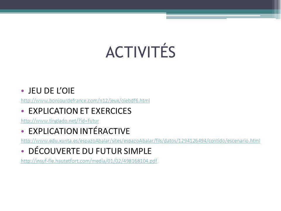 ACTIVITÉS JEU DE L'OIE EXPLICATION ET EXERCICES