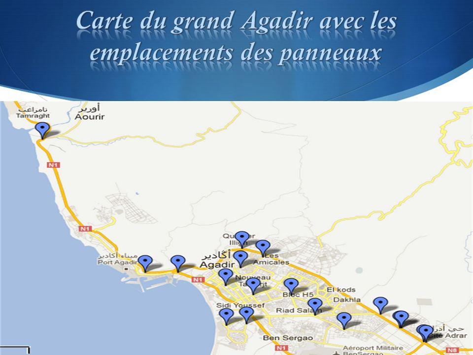 Carte du grand Agadir avec les emplacements des panneaux