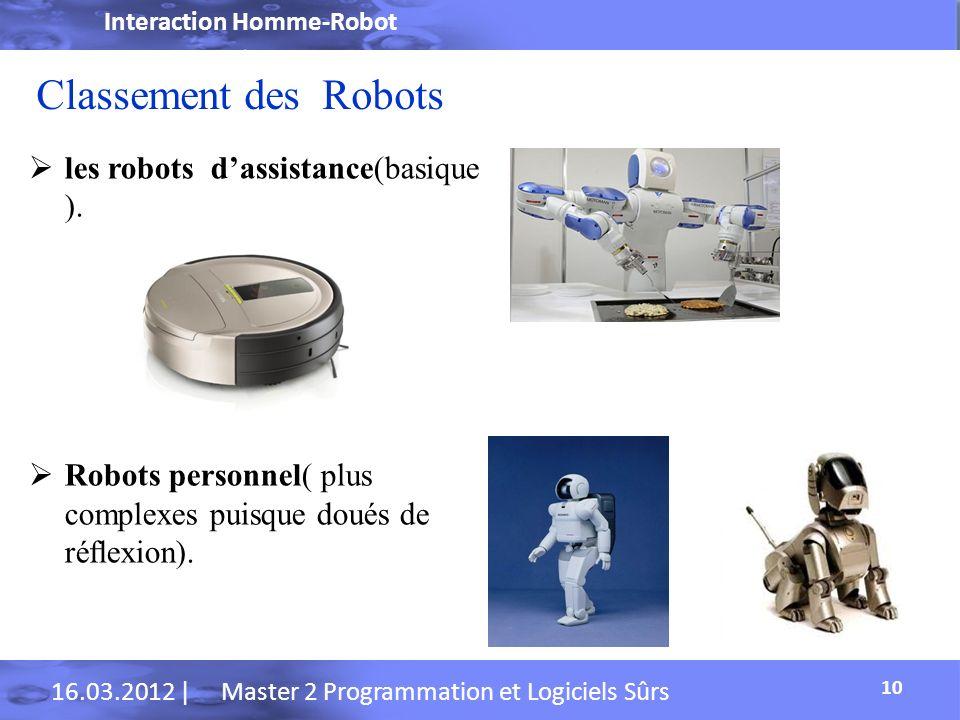 Classement des Robots les robots d'assistance(basique ).