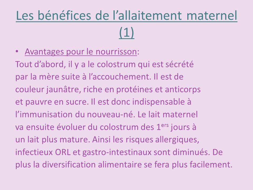 Les bénéfices de l'allaitement maternel (1)