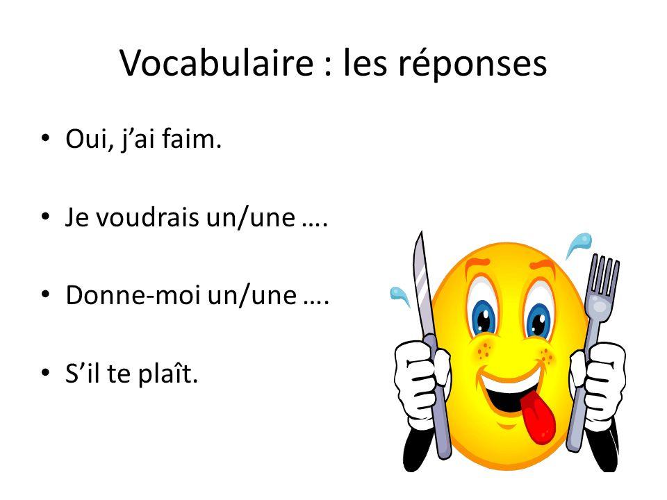 Vocabulaire : les réponses