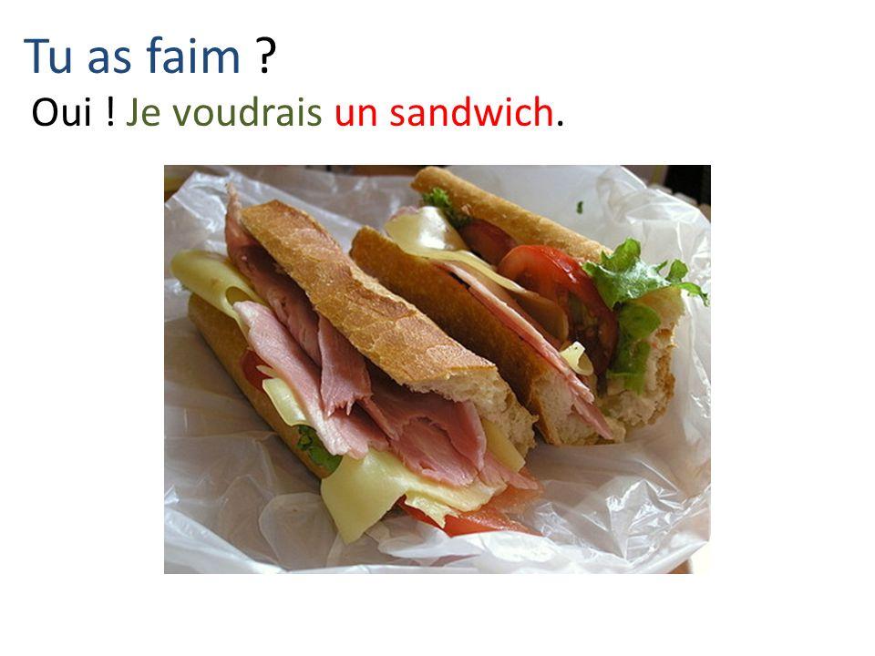 Tu as faim Oui ! Je voudrais un sandwich.