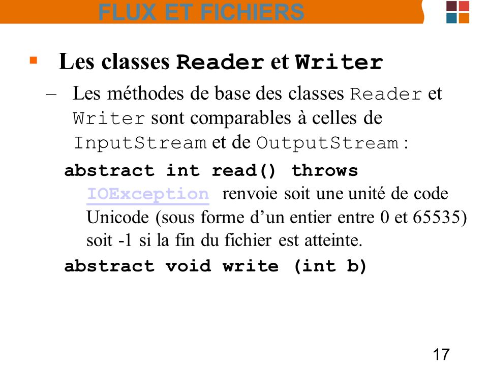 Les classes Reader et Writer