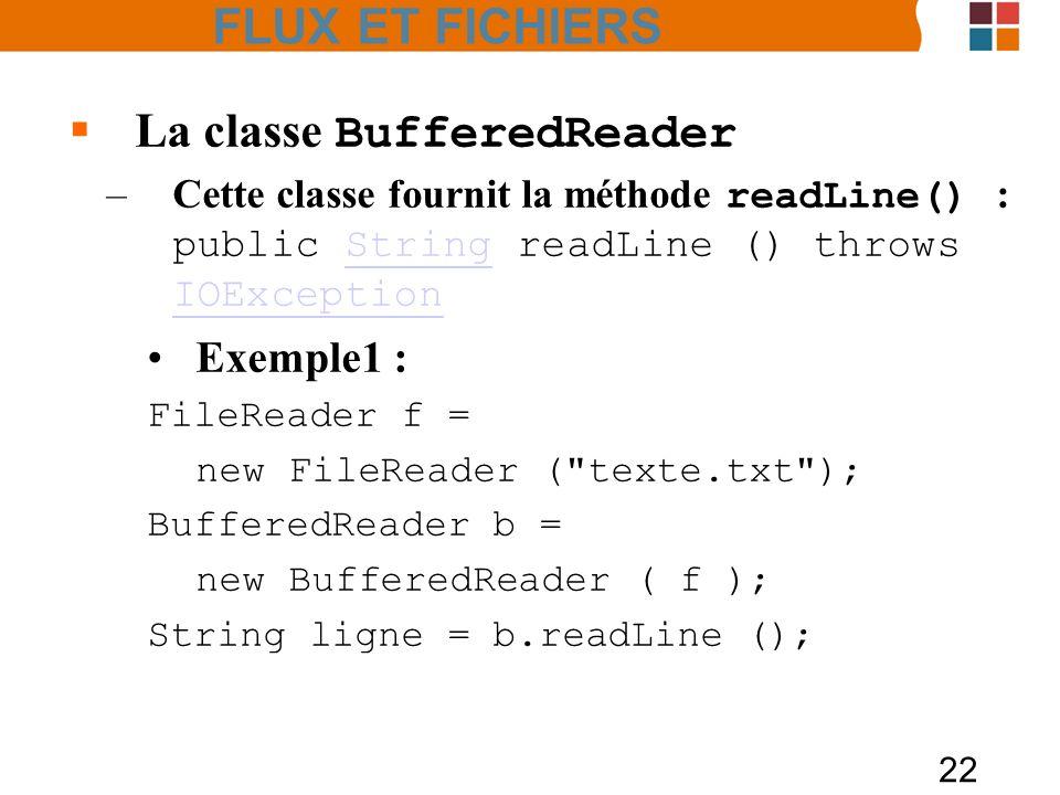 FLUX ET FICHIERS La classe BufferedReader Exemple1 :