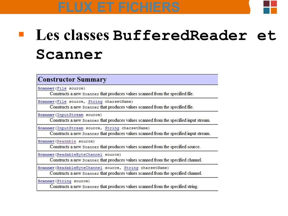 Les classes BufferedReader et Scanner