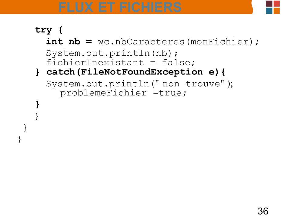 FLUX ET FICHIERS try { int nb = wc.nbCaracteres(monFichier);