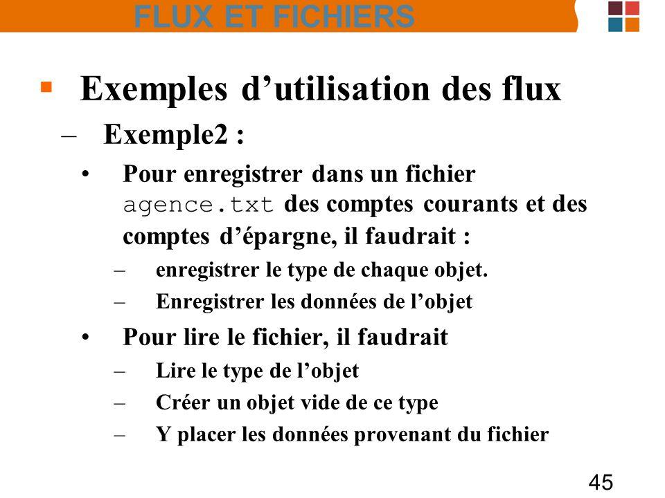 Exemples d'utilisation des flux