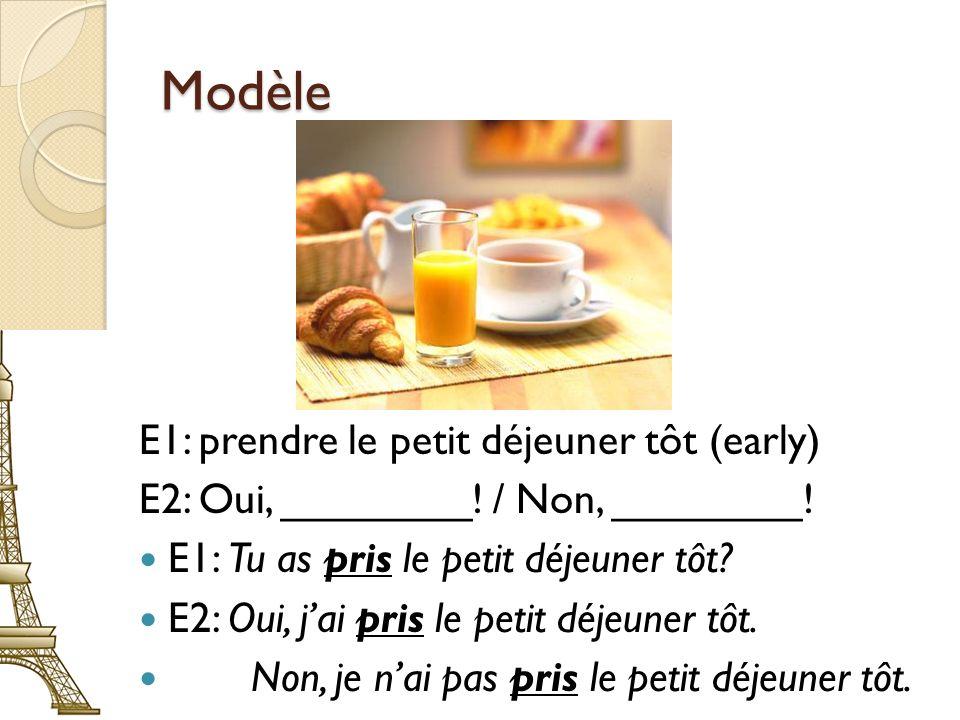 Modèle E1: prendre le petit déjeuner tôt (early)