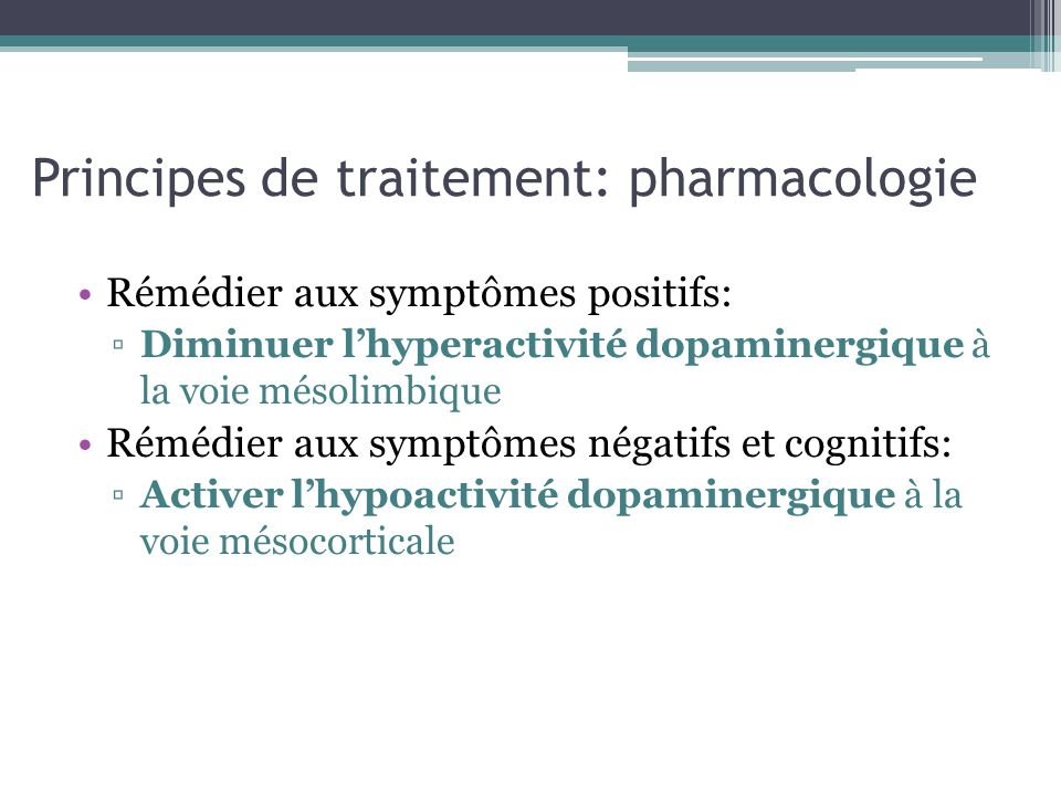 Principes de traitement: pharmacologie