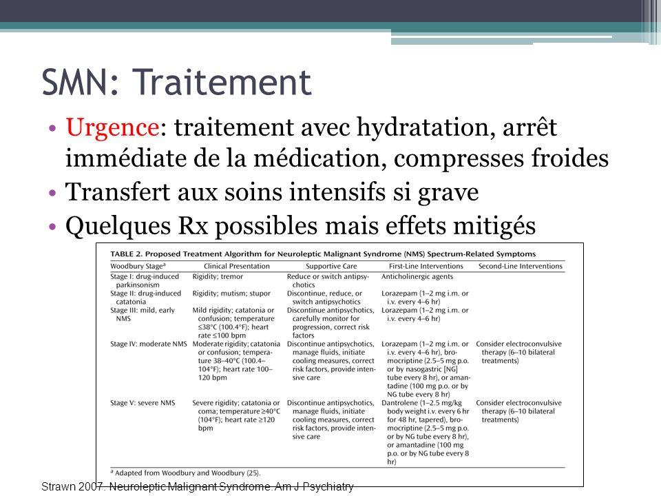 SMN: Traitement Urgence: traitement avec hydratation, arrêt immédiate de la médication, compresses froides.