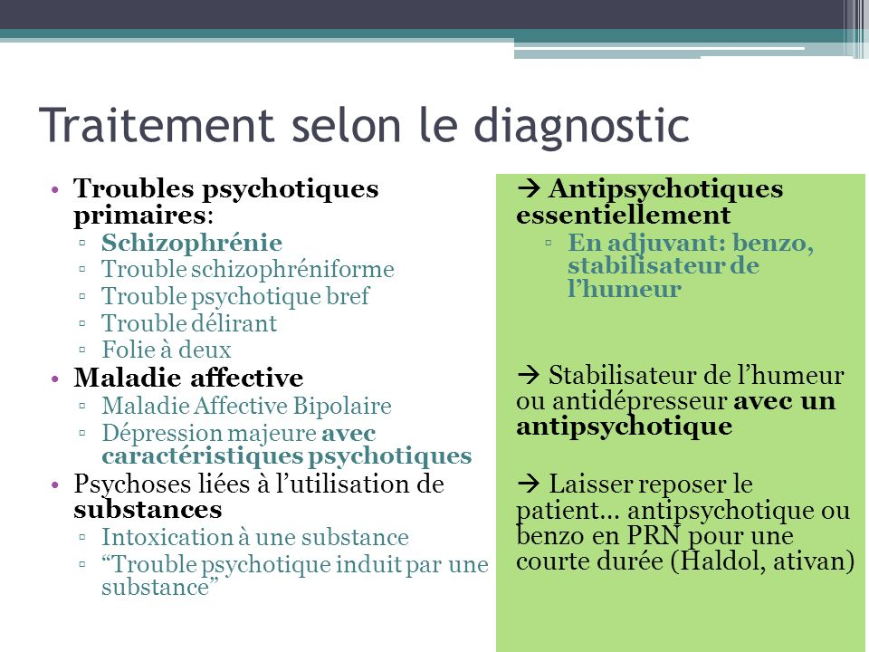 Traitement selon le diagnostic
