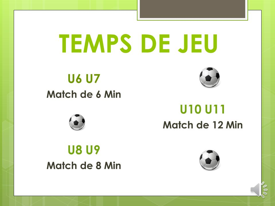 TEMPS DE JEU U6 U7 U10 U11 U8 U9 Match de 6 Min Match de 12 Min
