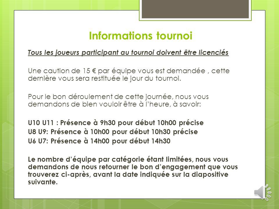 Informations tournoi