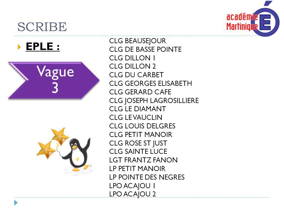 Vague 3 SCRIBE EPLE : CLG BEAUSEJOUR CLG DE BASSE POINTE CLG DILLON 1