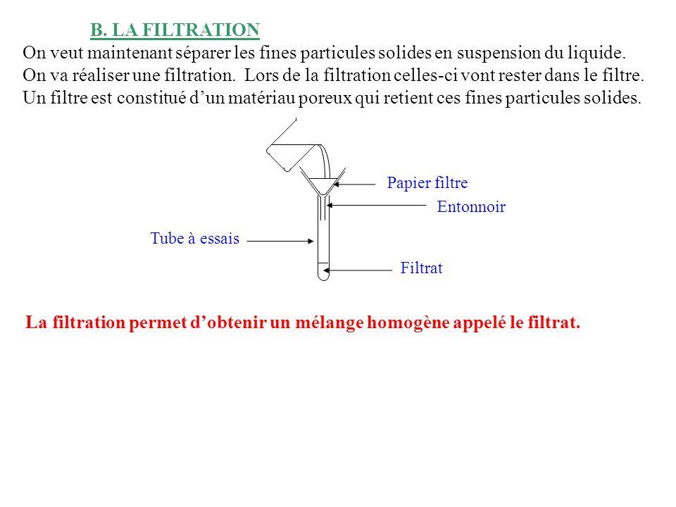 La filtration permet d'obtenir un mélange homogène appelé le filtrat.